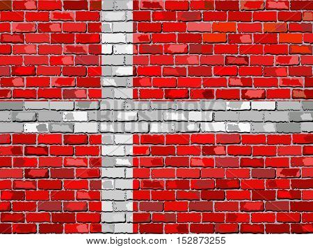 Flag of Denmark on a brick wall - Illustration,  Danish flag on brick textured background,  Abstract grunge mosaic vector