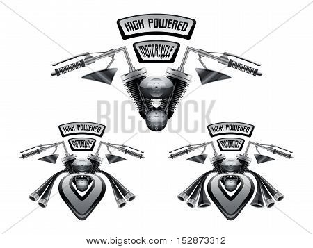 High powered motorcycle concept with gigantic performance exhausts on white background. 3d vector illustration.