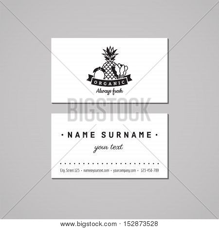 Organic food business card design concept. Logo with lemon pineapple and spinach. Vintage hipster and retro style.