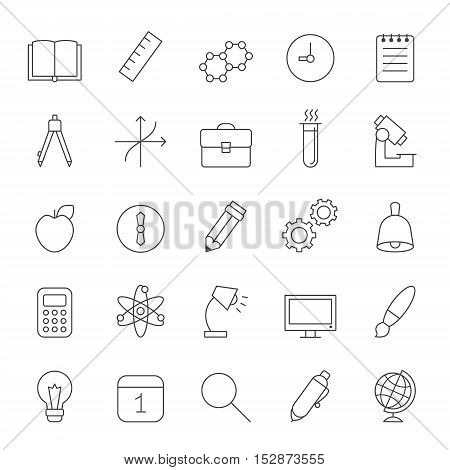 Education and science outline gray icons vector set. Clean and simple design.