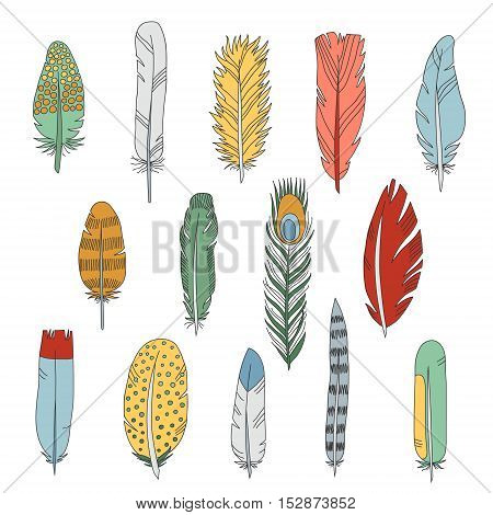 Feathers doodle multicolored icons vector set. Cartoon naive style.