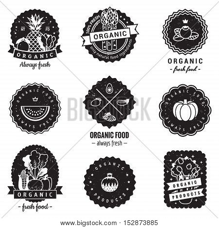 Organic food logo-badges vintage vector set. Hipster and retro style. Perfect for your business design.