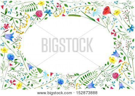 Greeting card with meadow flowers.Colorful frame with wild flowers and herbs on a white background, drawing watercolor.Floral composition.Buttercup,poppy,cornflower,bell,tansy,chamomile and berry.