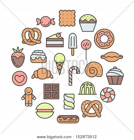 Sweets outline multicolored circle cute illustration. Clean and simple design.