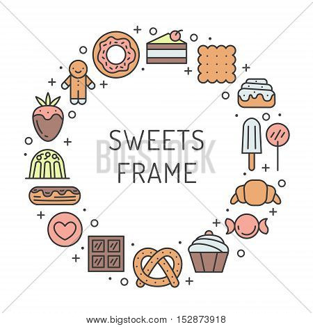 Sweets outline multicolored circle cute frame with place for your text. Clean and simple design.