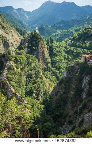 Scenic Mountain  Landscape With  Monastery In Prusos, Evritania, Greece