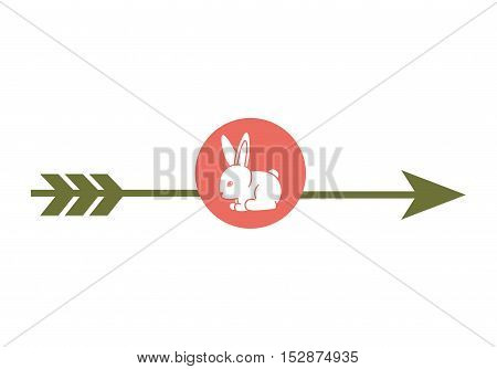 green arrow with rabbit cartoon over pink circle over white background. vector illustration