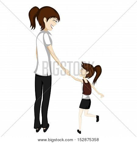 Brunette mom and daughter are holding hands while walking to school