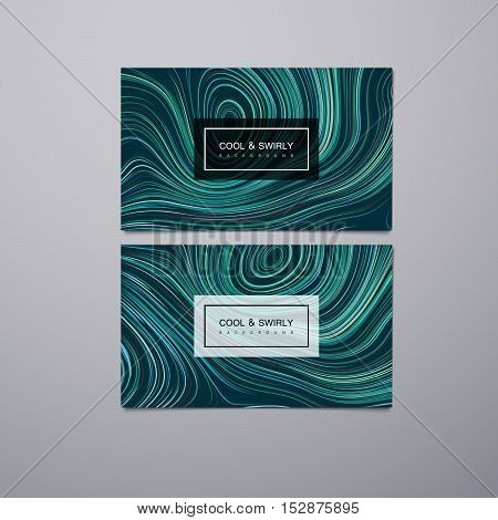 Greeting, invitation, business cards design template with swirled stripes. Vector illustration of swirled vortex stripes background. Marble or acrylic texture imitation.