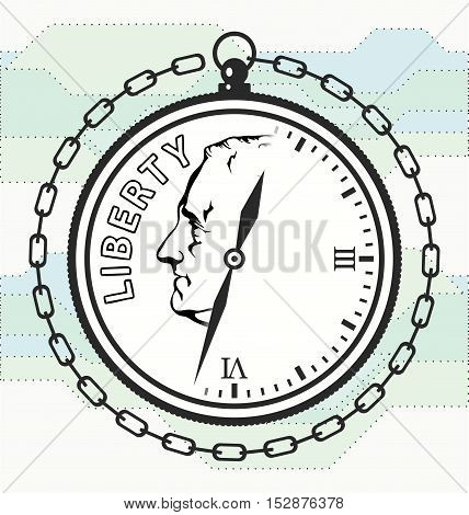 Time is money. Logo reflecting the relationship between money and time