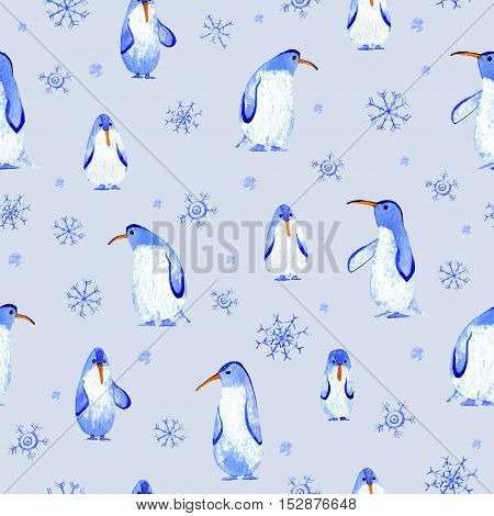 Penguins and snowflakes seamless pattern.Watercolor hand drawn illustration.
