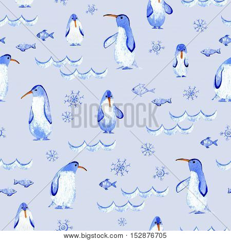 Penguins seamless pattern.Wave,fish and snowflake.Watercolor hand drawn illustration.Blue background.