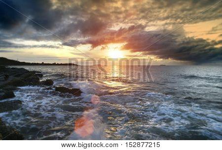 Sunrise Morning In Cloudy Of Rainy Season