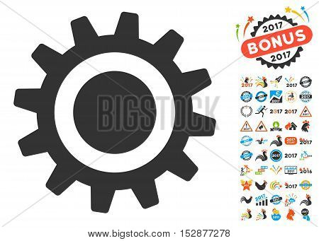 Cog icon with bonus 2017 new year symbols. Vector illustration style is flat iconic symbols, modern colors, rounded edges.