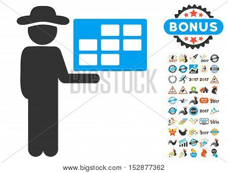 Agent Schedule pictograph with bonus 2017 new year symbols. Vector illustration style is flat iconic symbols, modern colors, rounded edges.