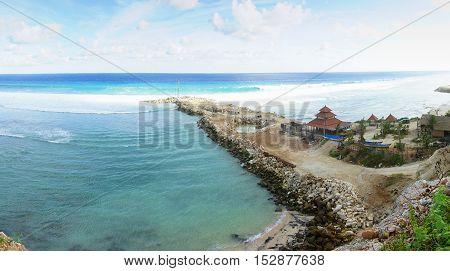Melasti hidden beach in bali, indonesia. Nature vacation background