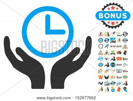 Clock Maintenance pictograph with bonus 2017 new year icon set. Vector illustration style is flat iconic symbols, modern colors, rounded edges.