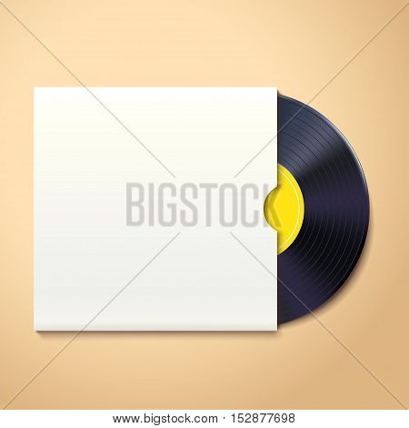illustration of vinyl record with white pack on briht background with shadow