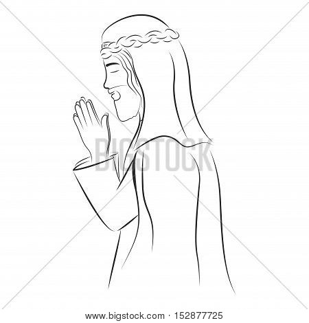 saint joseph praying. christianity design over white background. vector illustration