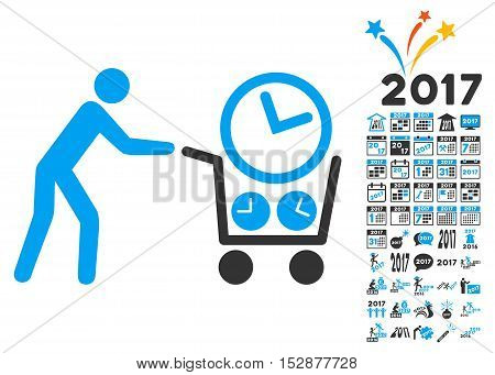 Clock Shopping icon with bonus 2017 new year graphic icons. Vector illustration style is flat iconic symbols, modern colors, rounded edges.
