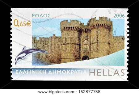 GREECE - CIRCA 2006 : Cancelled postage stamp printed by Greece, that shows Rodos.