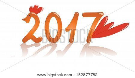 Symbol of the year 2017 - a rooster. Orange numbers with shadow. Vector illustration