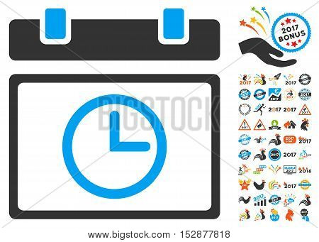 Date Time pictograph with bonus 2017 new year icon set. Vector illustration style is flat iconic symbols, modern colors, rounded edges.