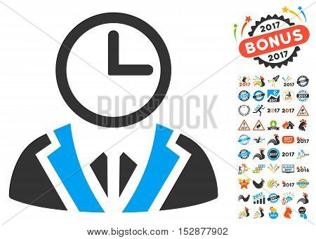Duty Person pictograph with bonus 2017 new year pictures. Vector illustration style is flat iconic symbols, modern colors, rounded edges.