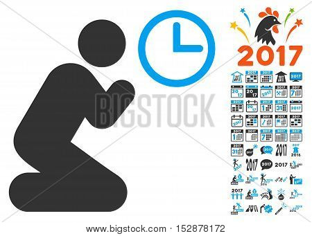 Pray Time pictograph with bonus 2017 new year images. Vector illustration style is flat iconic symbols, modern colors, rounded edges.