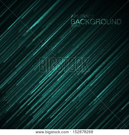 Abstract green background with glowing random lines and sparkles. Vector illustration. Cover, poster, flyer, banner and placard design template