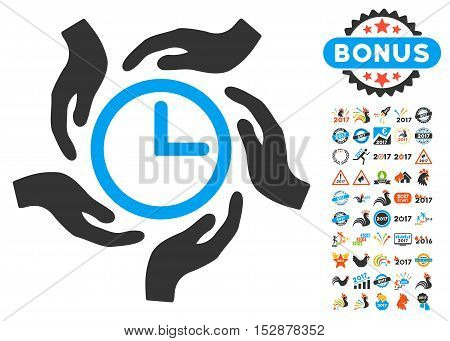 Time Care pictograph with bonus 2017 new year pictograph collection. Vector illustration style is flat iconic symbols, modern colors, rounded edges.