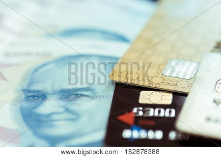 Credit cards one hundred Turkish lira high quality and high resolution studio shoot