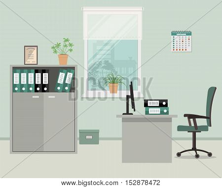 Workplace of office worker in grey color. There are such objects on a window background: a table, case for documents, a chair, computer. Vector flat illustration
