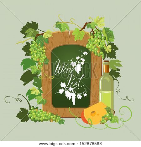 Wooden menu blackboard Wine bottle cheese and green grapes and leaves isolated on beige background. Calligraphic handdrawn text Wine list. Element for restaurant bar cafe menu or label.