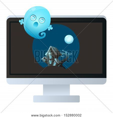 Horror movie. House with ghost on a computer monitor. Vector illustration