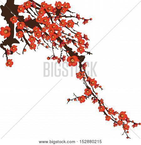 Red spring cherryblossom flowers sunshine blooming on tree vector illustration