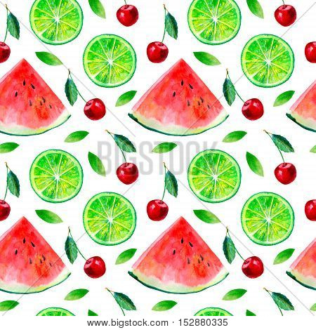 Watermelon,lemon lime and cherry fruit.Watercolor hand drawn illustration.Food picture.
