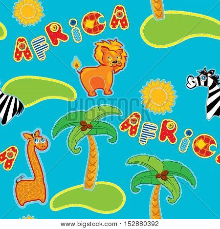 Seamless pattern with cartoon animals - giraffe leon and zebra and handdrawn word Africa - hand made cutout images - Background for children.