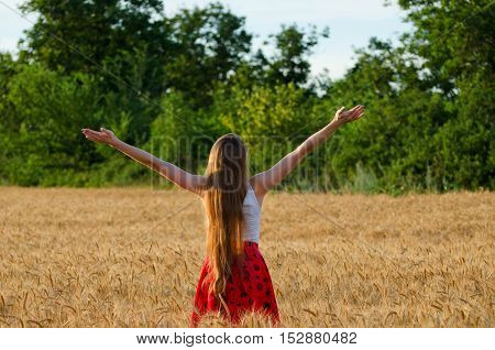 Girl is back in a wheat field with his arms raised to the sky