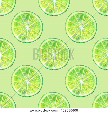 Seamless pattern with lemon lime.Fruit picture.Watercolor hand drawn illustration.Green background