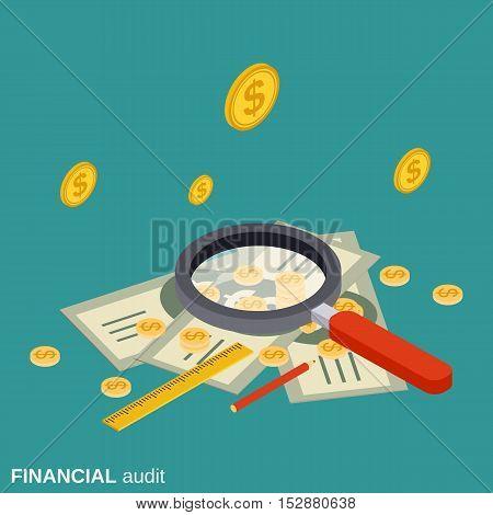 Business audit, analytics, control, financial statistics flat isometric vector concept illustration
