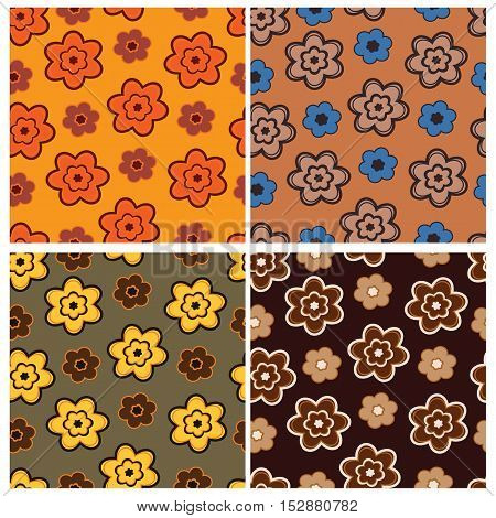 Set of four seamless patterns with flowers in brown style