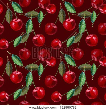 Seamless pattern with cherry.Food picture.Watercolor hand drawn illustration.Red background.