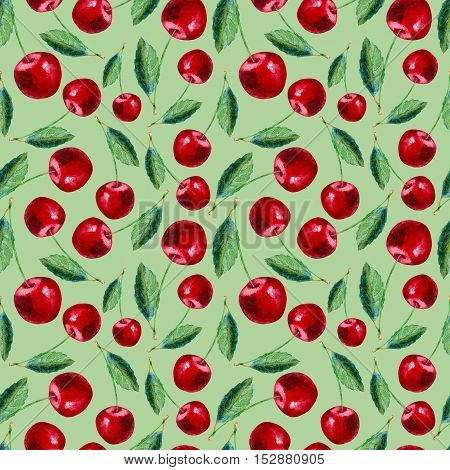 Seamless pattern with cherry.Food picture.Watercolor hand drawn illustration.Green background.