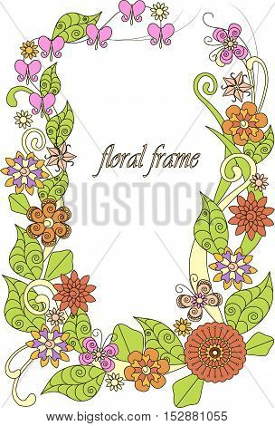 Colorful hand drawn flowers frame on white, vector illustration