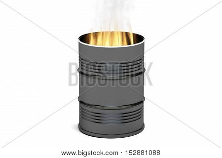 Barrel with fire 3D rendering isolated on white background