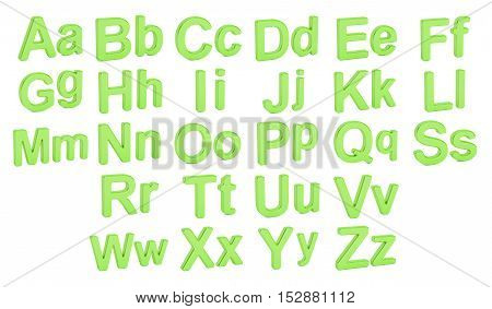 Green alphabet large and small letters 3D rendering isolated on white background