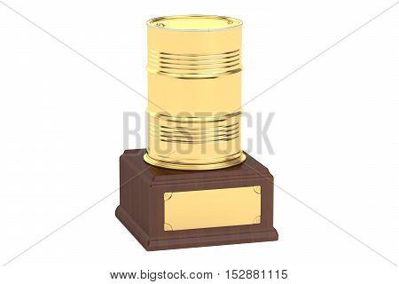 Golden Oil Barrel Award concept 3D rendering isolated on white background