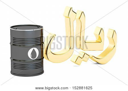 oil barrel and Saudi riyal symbol 3D rendering isolated on white background