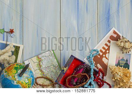 Maps, Photos, Globe And Seashells